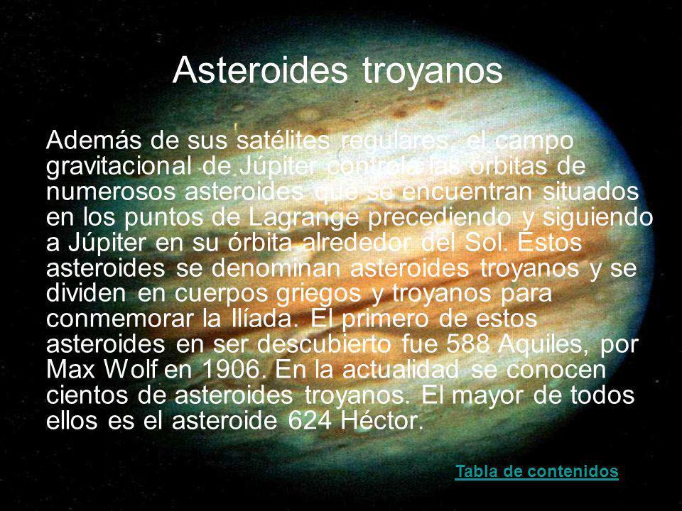Asteroides troyanos Además de sus satélites regulares, el campo gravitacional de Júpiter controla las órbitas de numerosos asteroides que se encuentra