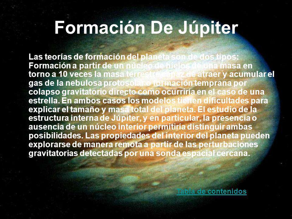 Formación De Júpiter Las teorías de formación del planeta son de dos tipos: Formación a partir de un núcleo de hielos de una masa en torno a 10 veces
