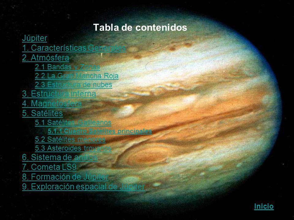 Tabla de contenidos Júpiter 1. Características Generales 2. Atmósfera –2.1 Bandas y Zonas2.1 Bandas y Zonas –2.2 La Gran Mancha Roja2.2 La Gran Mancha