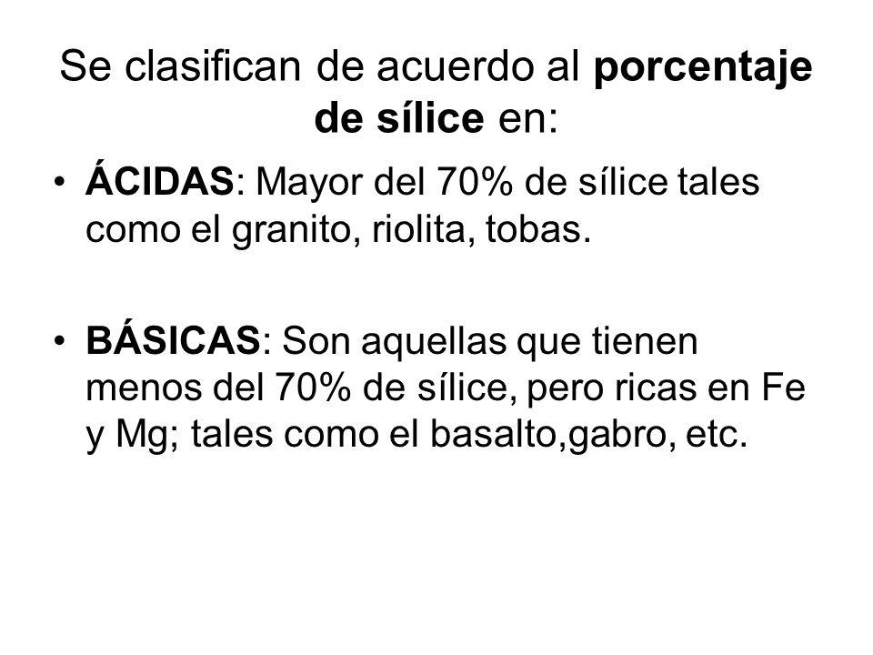 Se clasifican de acuerdo a su composición mineralógica en: CLARAS: color claro, formada por minerales livianos ricos en sílice tales como el granito,