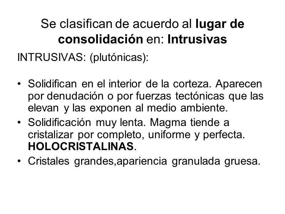 Se clasifican de acuerdo al lugar de consolidación en: Extrusivas EXTRUSIVAS: (efusivas o volcánicas): Solidifican en el exterior de la corteza. Enfri