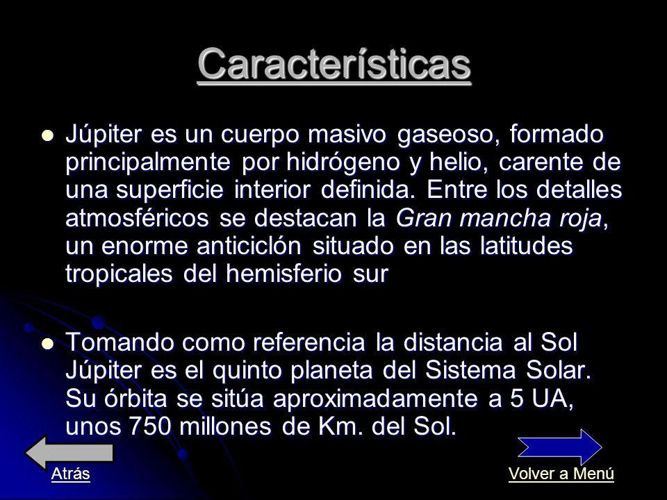 Júpiter es un cuerpo masivo gaseoso, formado principalmente por hidrógeno y helio, carente de una superficie interior definida. Entre los detalles atm