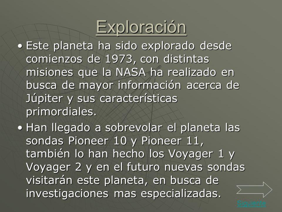 Exploración Este planeta ha sido explorado desde comienzos de 1973, con distintas misiones que la NASA ha realizado en busca de mayor información acer