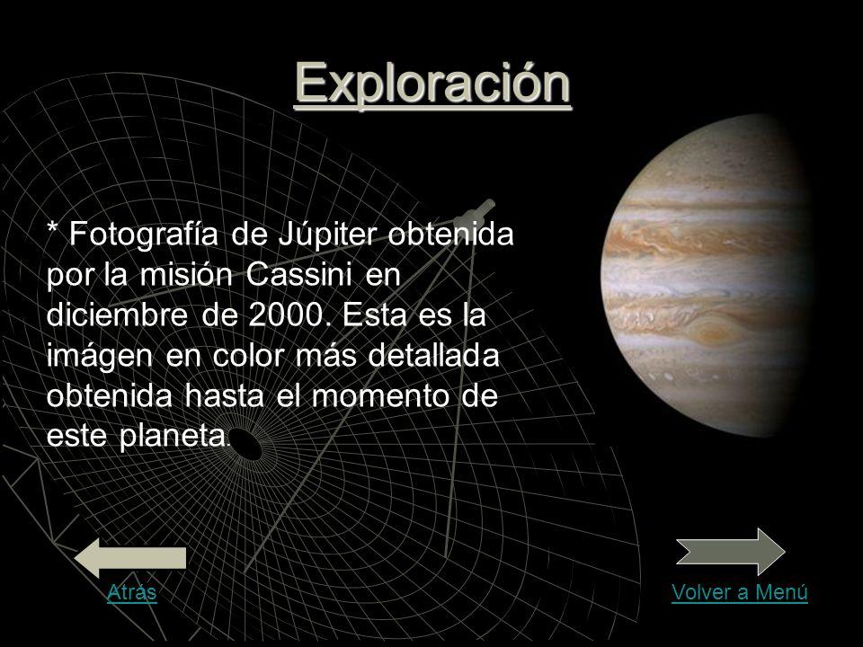 Exploración * Fotografía de Júpiter obtenida por la misión Cassini en diciembre de 2000. Esta es la imágen en color más detallada obtenida hasta el mo