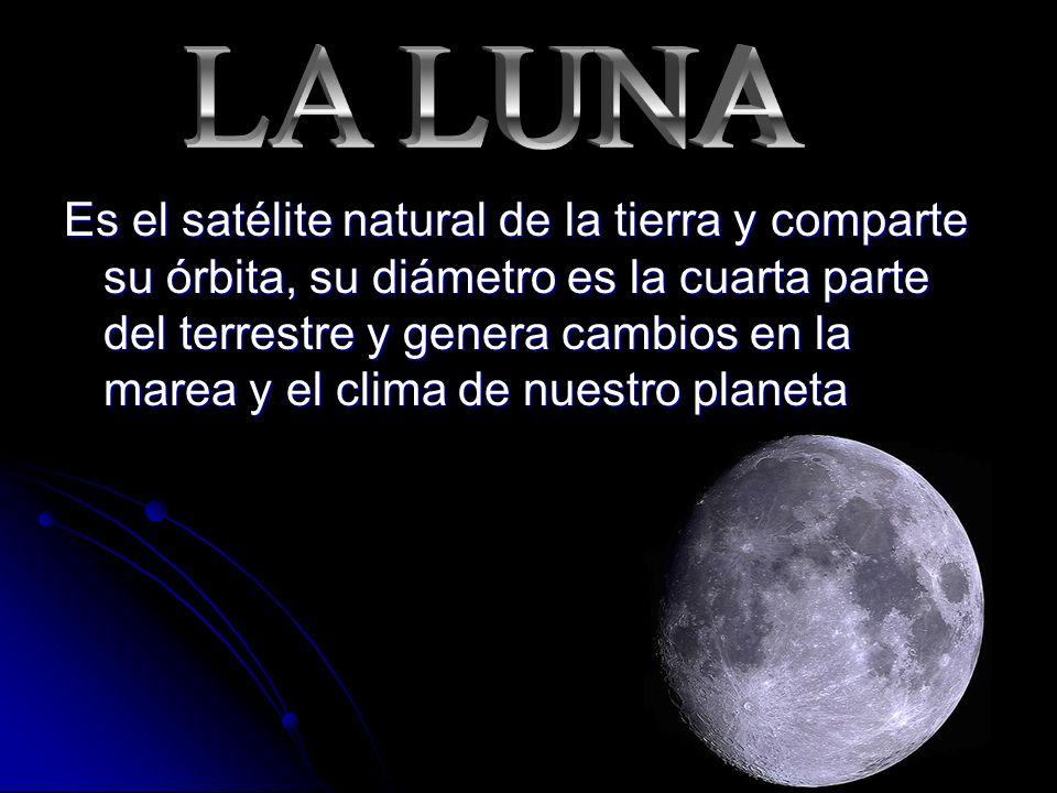 Es el satélite natural de la tierra y comparte su órbita, su diámetro es la cuarta parte del terrestre y genera cambios en la marea y el clima de nuestro planeta