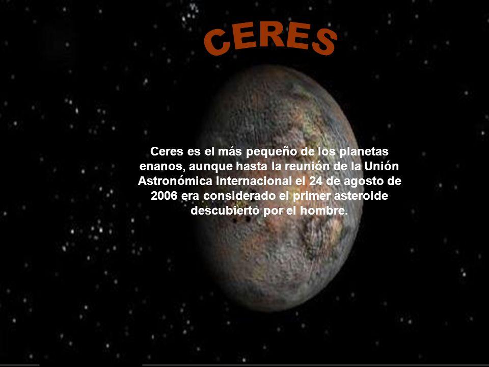 Ceres es el más pequeño de los planetas enanos, aunque hasta la reunión de la Unión Astronómica Internacional el 24 de agosto de 2006 era considerado