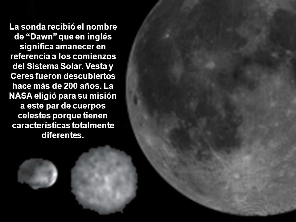 La sonda recibió el nombre de Dawn que en inglés significa amanecer en referencia a los comienzos del Sistema Solar. Vesta y Ceres fueron descubiertos