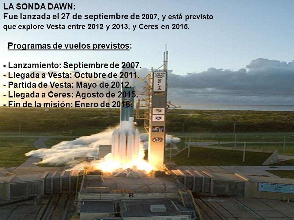 La misión Dawn Fue lanzada el 27 de septiembre de 2007, y Dawn está previsto que explore Vesta entre 2012 y 2013, y Ceres en 2015.27 de septiembre2007