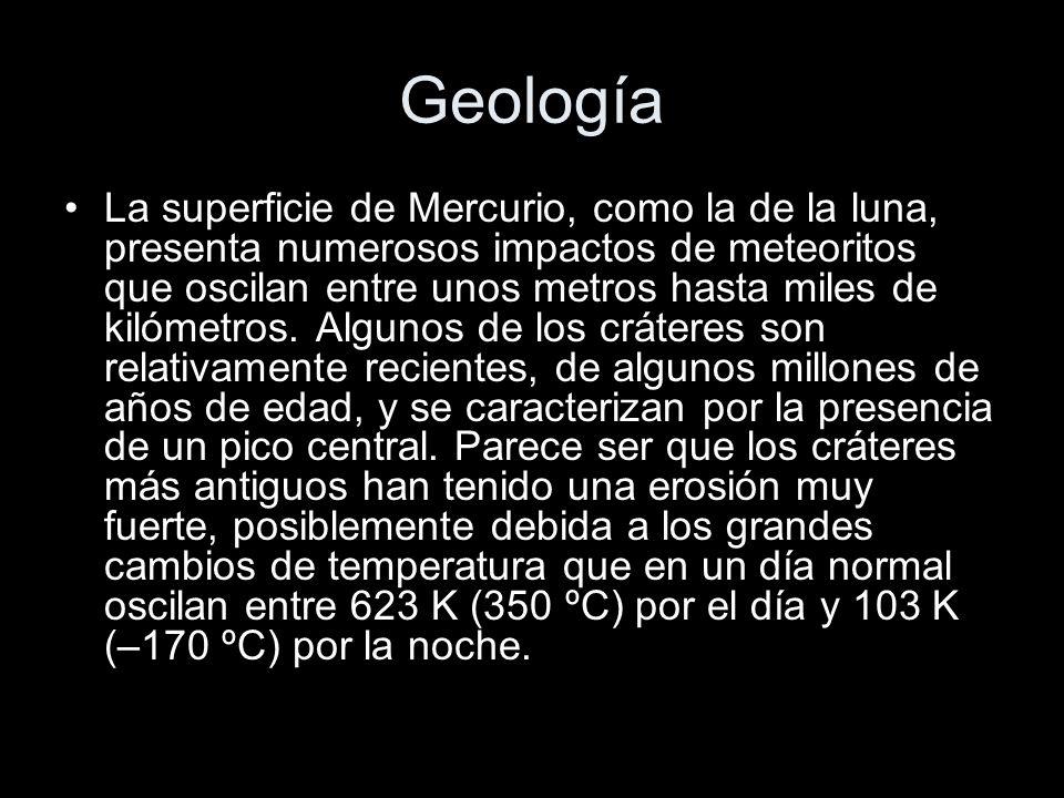 Geología La superficie de Mercurio, como la de la luna, presenta numerosos impactos de meteoritos que oscilan entre unos metros hasta miles de kilómetros.