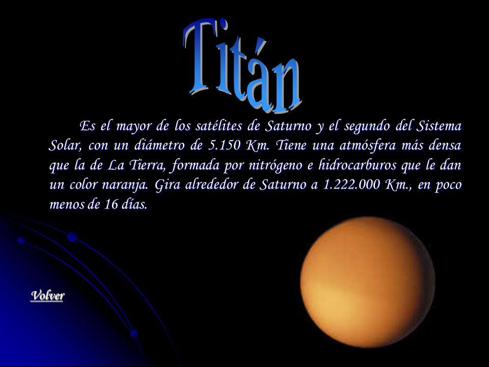 Es el mayor de los satélites de Saturno y el segundo del Sistema Solar, con un diámetro de 5.150 Km. Tiene una atmósfera más densa que la de La Tierra