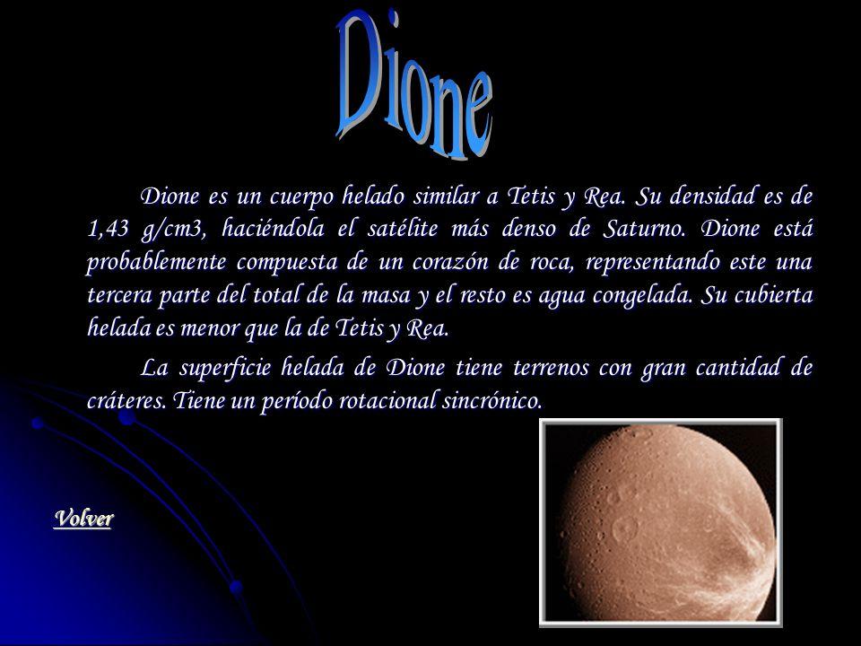 Dione es un cuerpo helado similar a Tetis y Rea. Su densidad es de 1,43 g/cm3, haciéndola el satélite más denso de Saturno. Dione está probablemente c