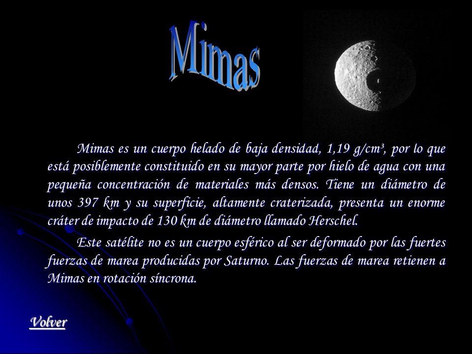 Mimas es un cuerpo helado de baja densidad, 1,19 g/cm³, por lo que está posiblemente constituido en su mayor parte por hielo de agua con una pequeña c