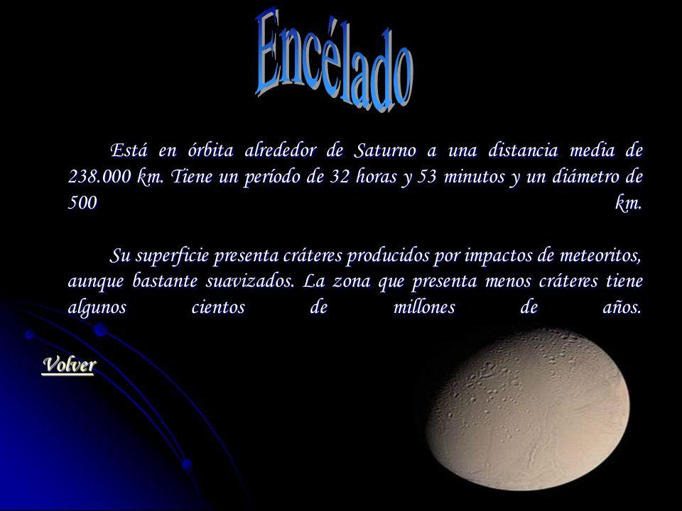 Está en órbita alrededor de Saturno a una distancia media de 238.000 km. Tiene un período de 32 horas y 53 minutos y un diámetro de 500 km. Su superfi
