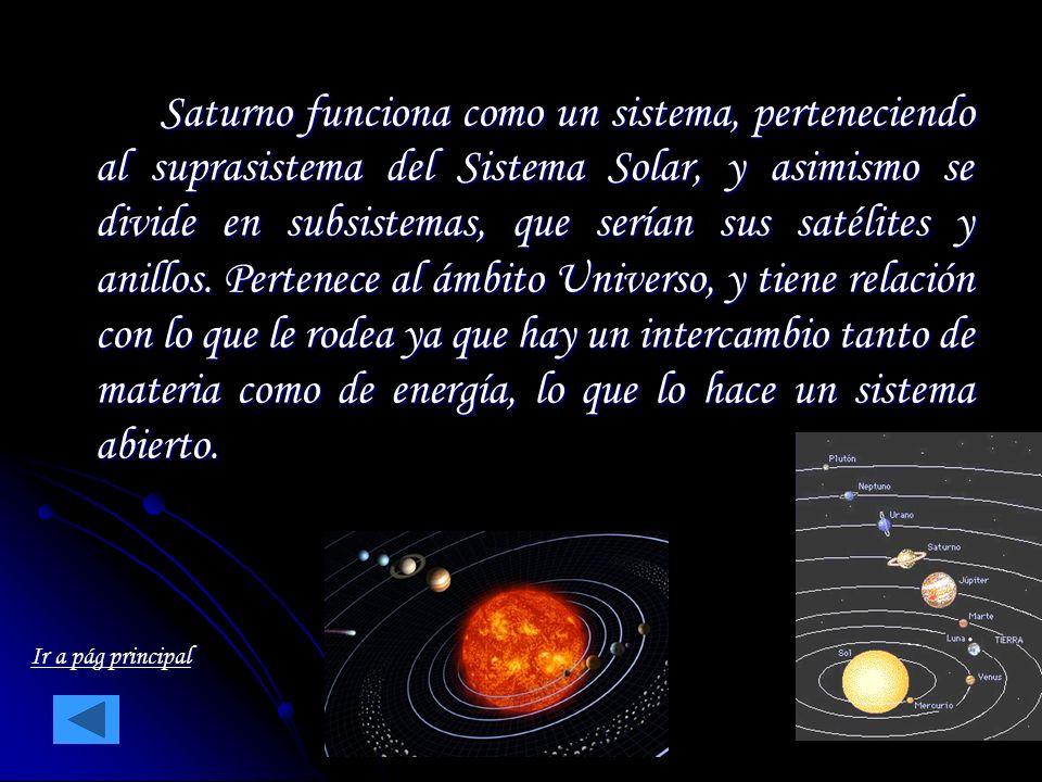 Saturno funciona como un sistema, perteneciendo al suprasistema del Sistema Solar, y asimismo se divide en subsistemas, que serían sus satélites y ani