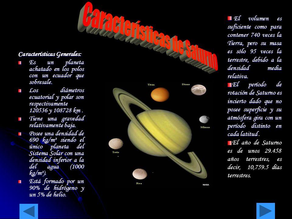 Características Generales: Es un planeta achatado en los polos con un ecuador que sobresale. Los diámetros ecuatorial y polar son respectivamente 1205