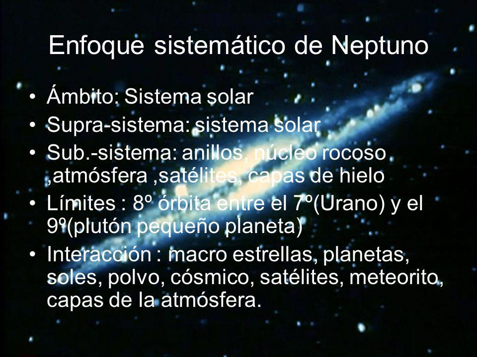 Enfoque sistemático de Neptuno Ámbito: Sistema solar Supra-sistema: sistema solar Sub.-sistema: anillos, núcleo rocoso,atmósfera,satélites, capas de h