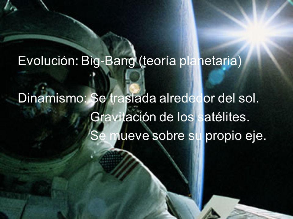 Evolución: Big-Bang (teoría planetaria) Dinamismo: Se traslada alrededor del sol. Gravitación de los satélites. Se mueve sobre su propio eje.