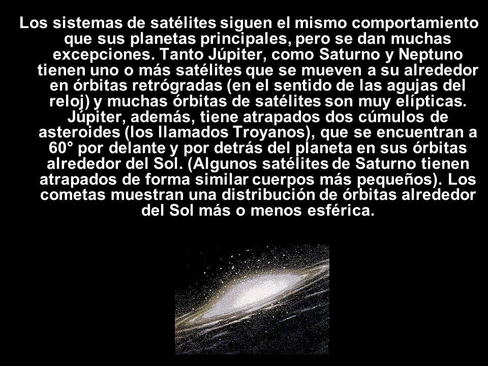Los sistemas de satélites siguen el mismo comportamiento que sus planetas principales, pero se dan muchas excepciones. Tanto Júpiter, como Saturno y N