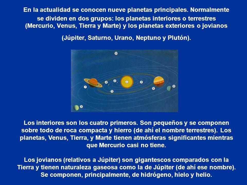 En la actualidad se conocen nueve planetas principales. Normalmente se dividen en dos grupos: los planetas interiores o terrestres (Mercurio, Venus, T