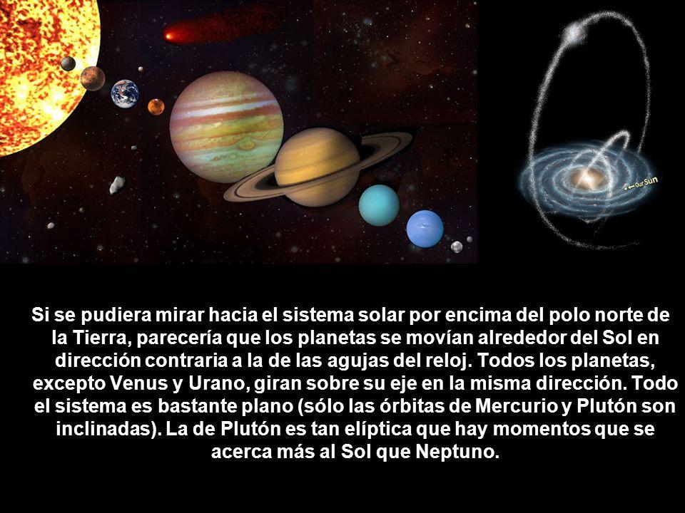 Si se pudiera mirar hacia el sistema solar por encima del polo norte de la Tierra, parecería que los planetas se movían alrededor del Sol en dirección