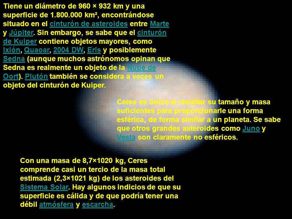 Tiene un diámetro de 960 × 932 km y una superficie de 1.800.000 km², encontrándose situado en el cinturón de asteroides entre Marte y Júpiter. Sin emb