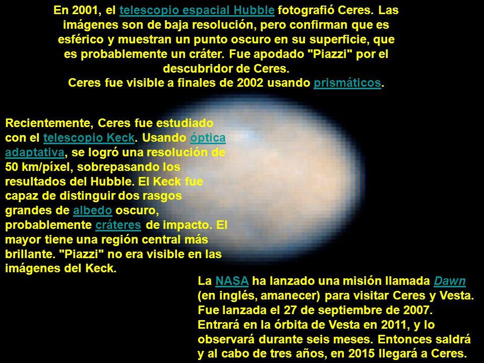 En 2001, el telescopio espacial Hubble fotografió Ceres. Las imágenes son de baja resolución, pero confirman que es esférico y muestran un punto oscur