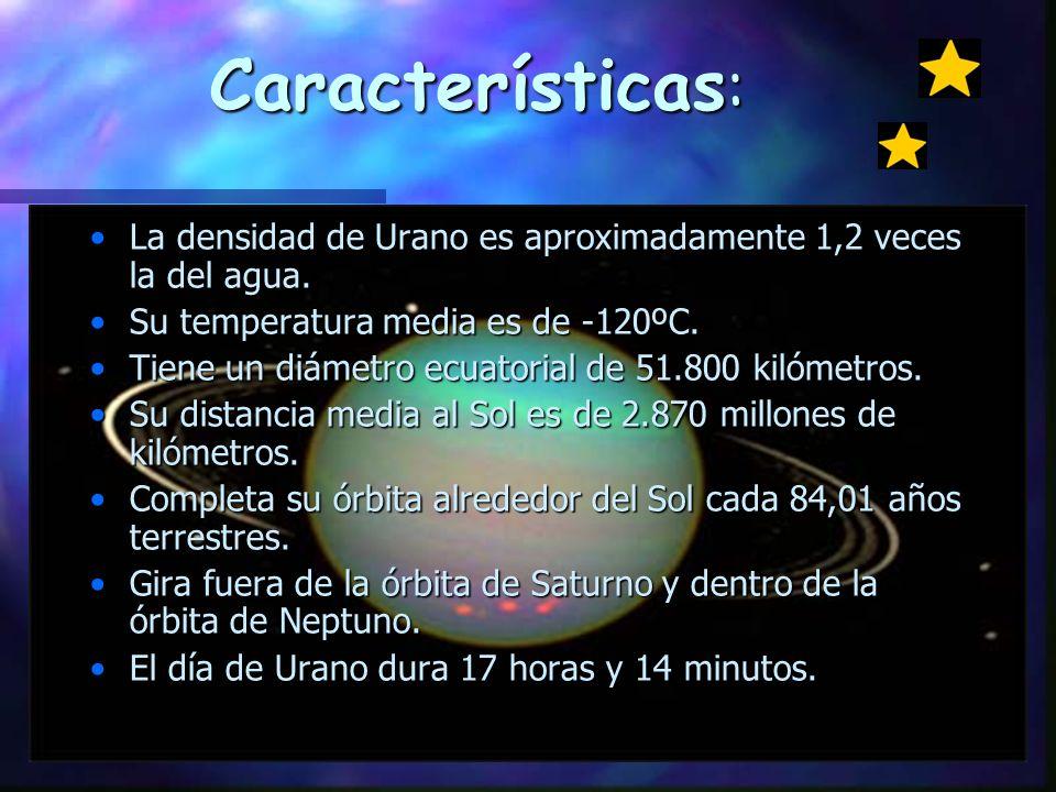Características : La densidad de Urano es aproximadamente 1,2 veces la del agua.La densidad de Urano es aproximadamente 1,2 veces la del agua.