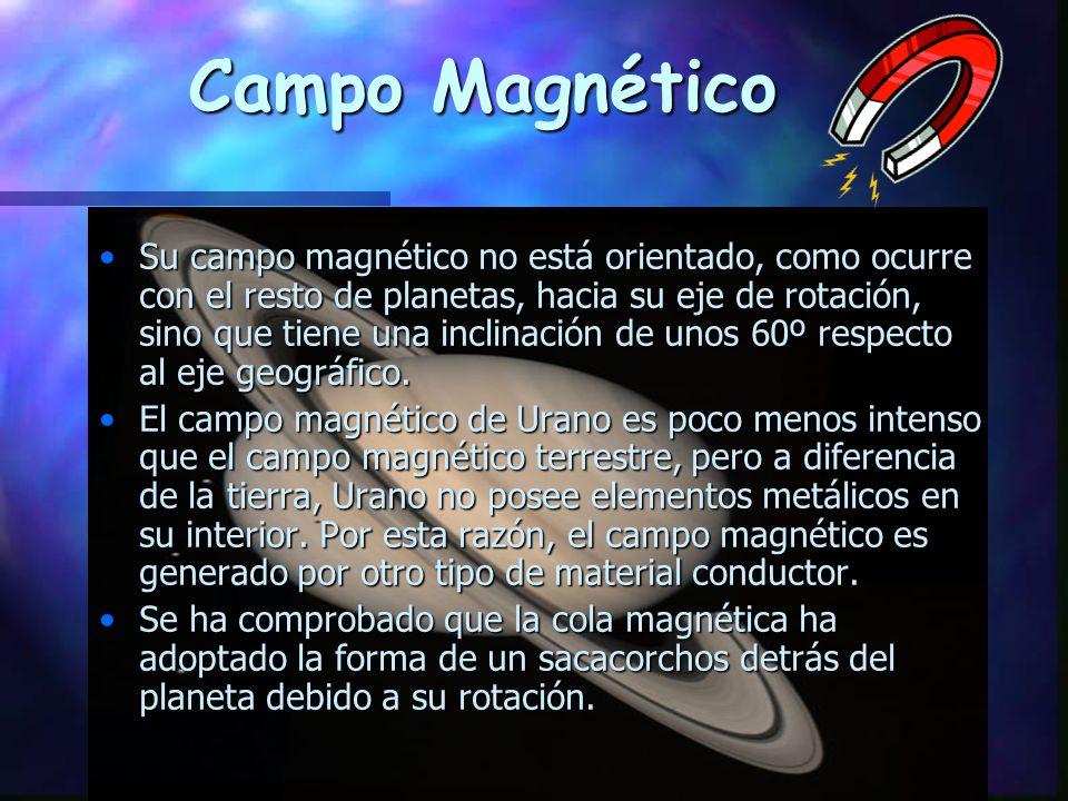 Campo Magnético Su campo magnético no está orientado, como ocurre con el resto de planetas, hacia su eje de rotación, sino que tiene una inclinación de unos 60º respecto al eje geográfico.Su campo magnético no está orientado, como ocurre con el resto de planetas, hacia su eje de rotación, sino que tiene una inclinación de unos 60º respecto al eje geográfico.