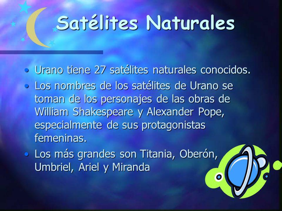 Satélites Naturales Urano tiene 27 satélites naturales conocidos.Urano tiene 27 satélites naturales conocidos.
