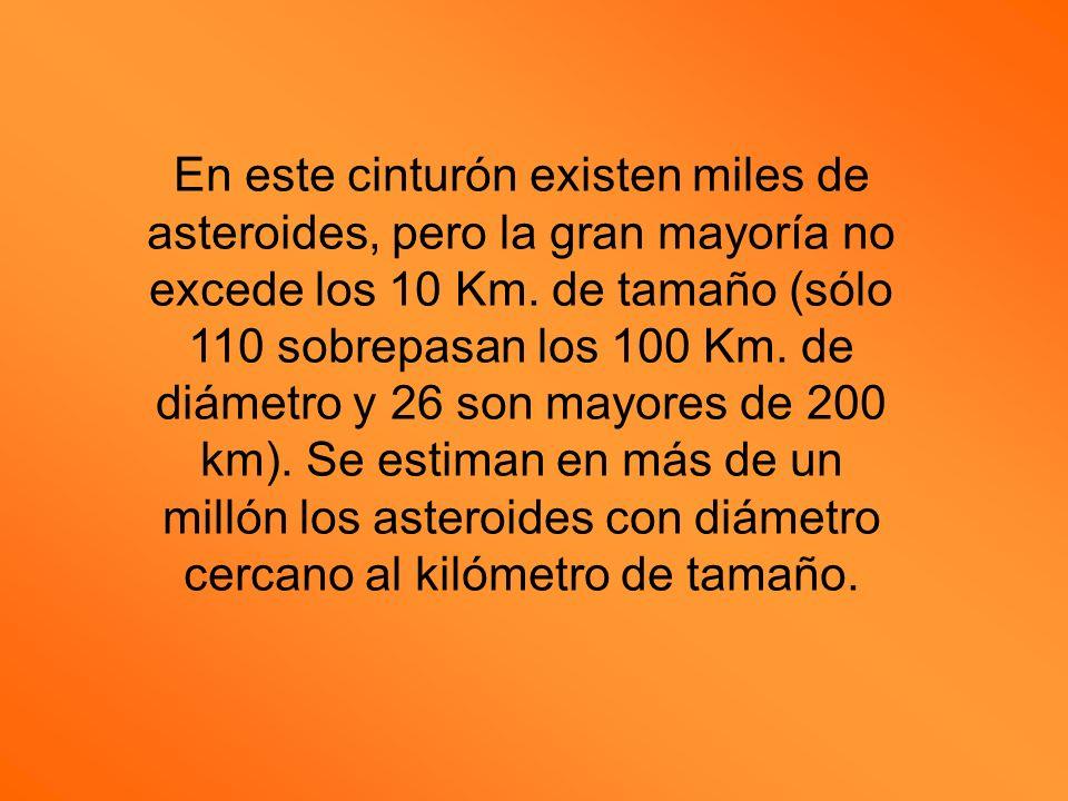 En este cinturón existen miles de asteroides, pero la gran mayoría no excede los 10 Km. de tamaño (sólo 110 sobrepasan los 100 Km. de diámetro y 26 so