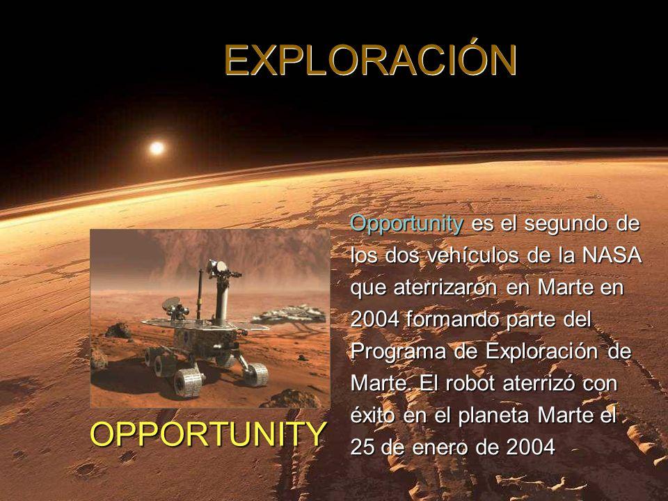 Opportunity es el segundo de los dos vehículos de la NASA que aterrizaron en Marte en 2004 formando parte del Programa de Exploración de Marte.