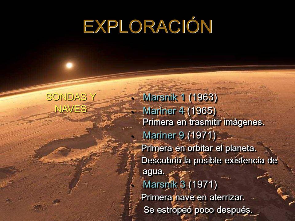 Mars Pathfinger (1997) Mars Pathfinger (1997) Mars Global Surveyor (1997) Mars Global Surveyor (1997) Mars Odissey (2001) Mars Odissey (2001) Mars Express (2003) Actualmente orbita el planeta.