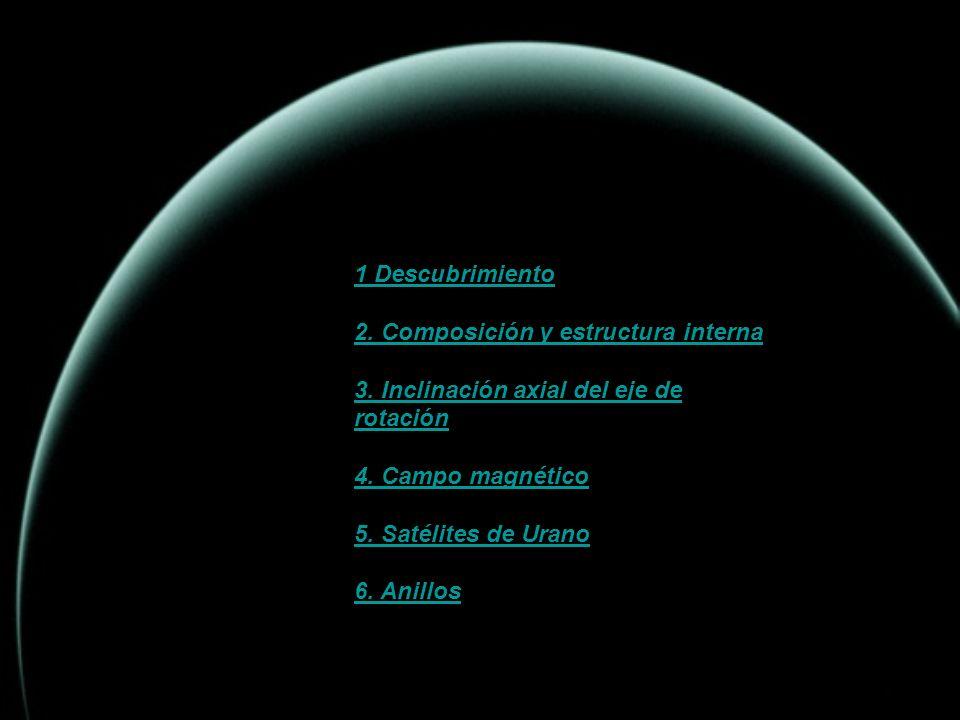 INDICE 1 Descubrimiento 2. Composición y estructura interna 3. Inclinación axial del eje de rotación 4. Campo magnético 5. Satélites de Urano 6. Anill