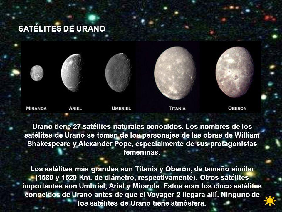 Urano tiene 27 satélites naturales conocidos. Los nombres de los satélites de Urano se toman de los personajes de las obras de William Shakespeare y A