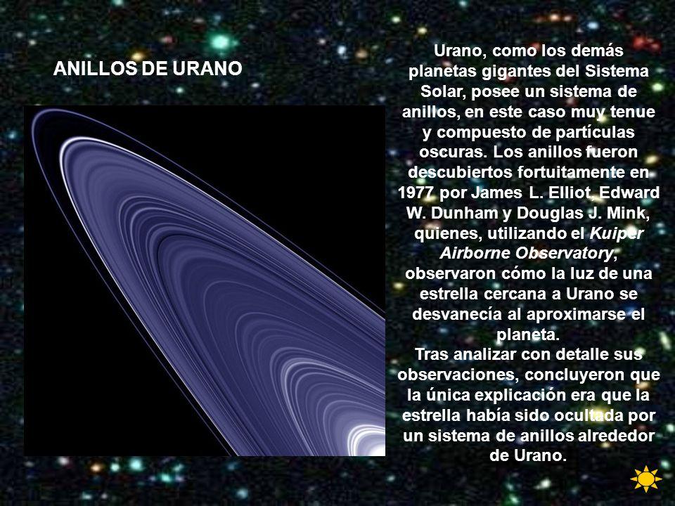 Urano, como los demás planetas gigantes del Sistema Solar, posee un sistema de anillos, en este caso muy tenue y compuesto de partículas oscuras. Los