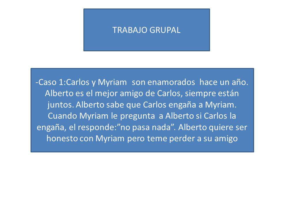 TRABAJO GRUPAL -Caso 1:Carlos y Myriam son enamorados hace un año. Alberto es el mejor amigo de Carlos, siempre están juntos. Alberto sabe que Carlos