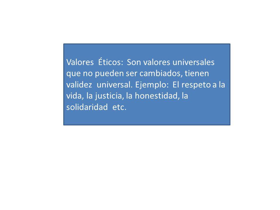 Valores Éticos: Son valores universales que no pueden ser cambiados, tienen validez universal. Ejemplo: El respeto a la vida, la justicia, la honestid