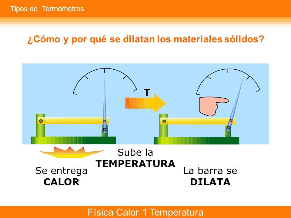 Física Calor 1 Temperatura Se entrega CALOR El líquido se expande y sube Tipos de Termómetros