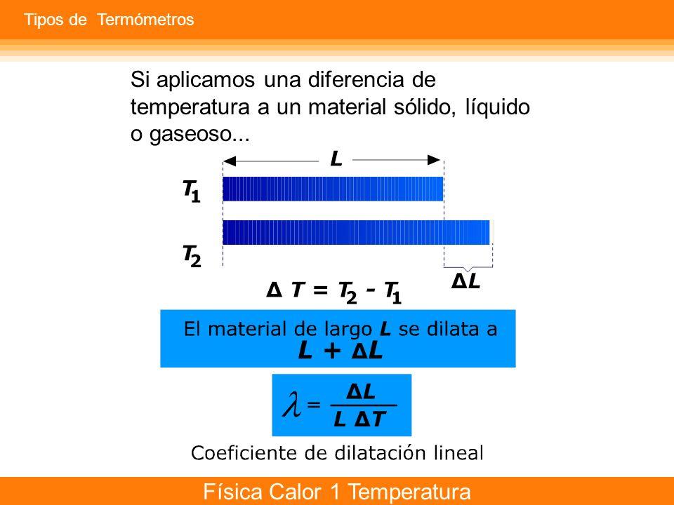 Física Calor 1 Temperatura Si aplicamos una diferencia de temperatura a un material sólido, líquido o gaseoso... Tipos de Termómetros