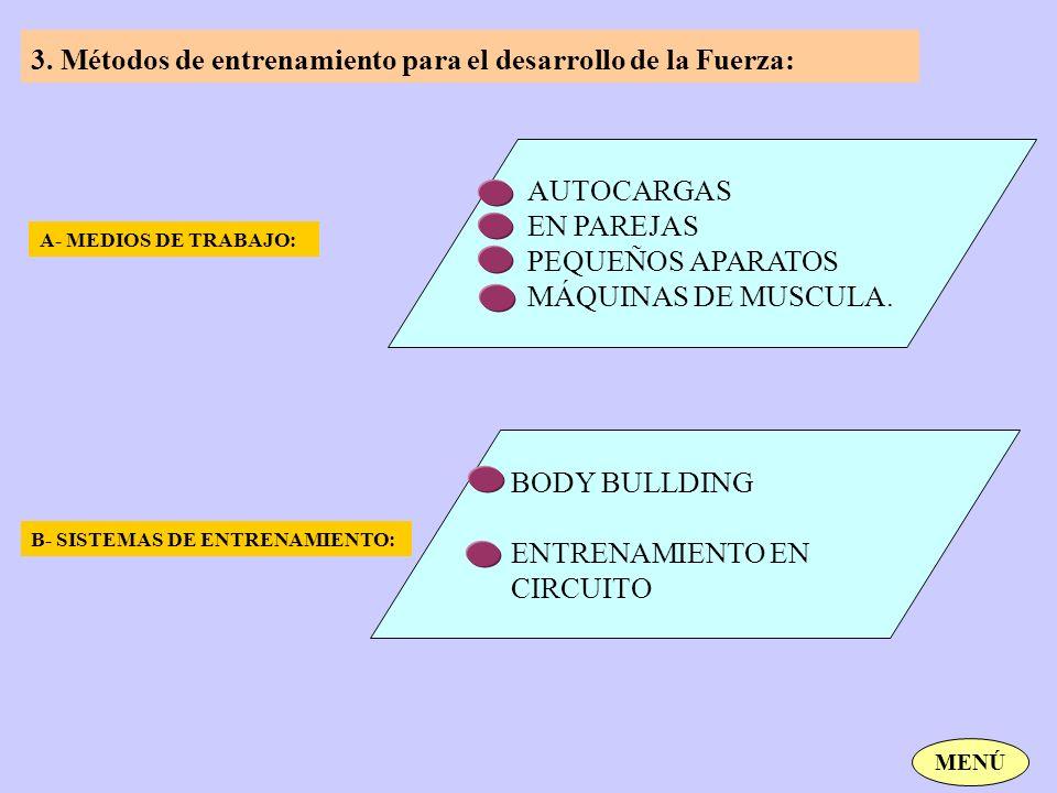 3. Métodos de entrenamiento para el desarrollo de la Fuerza: A- MEDIOS DE TRABAJO: B- SISTEMAS DE ENTRENAMIENTO: AUTOCARGAS EN PAREJAS PEQUEÑOS APARAT