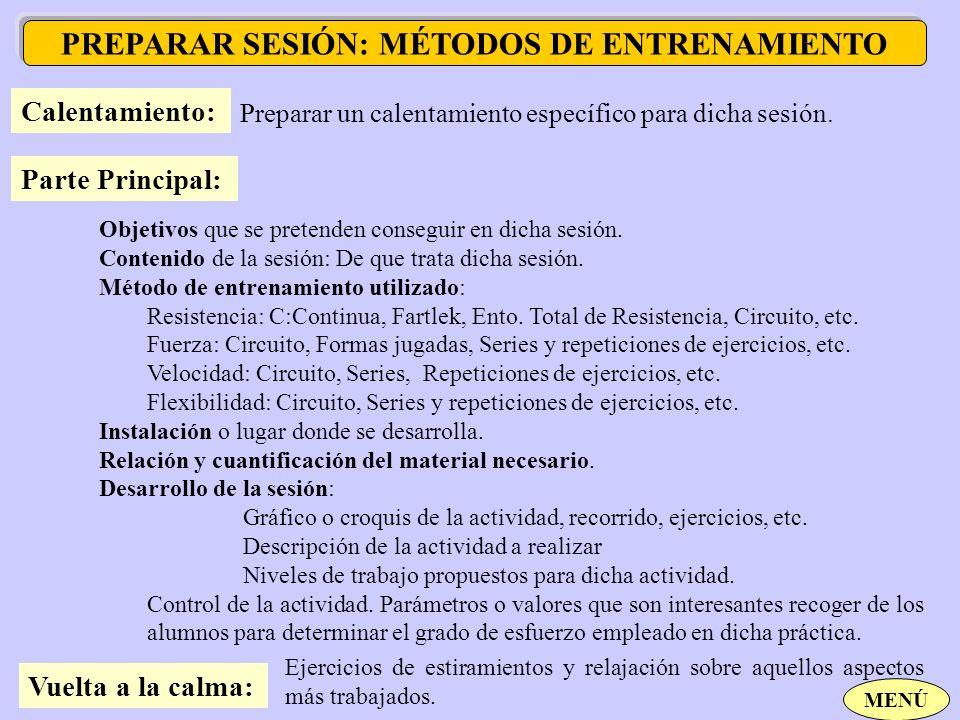 PREPARAR SESIÓN: MÉTODOS DE ENTRENAMIENTO Calentamiento: Preparar un calentamiento específico para dicha sesión. Parte Principal: Objetivos que se pre