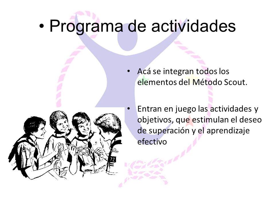 Programa de actividades Acá se integran todos los elementos del Método Scout. Entran en juego las actividades y objetivos, que estimulan el deseo de s