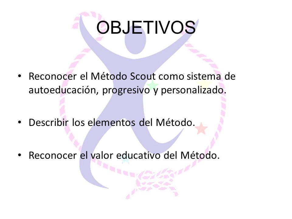 OBJETIVOS Reconocer el Método Scout como sistema de autoeducación, progresivo y personalizado. Describir los elementos del Método. Reconocer el valor