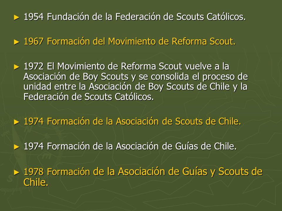 1954 Fundación de la Federación de Scouts Católicos. 1954 Fundación de la Federación de Scouts Católicos. 1967 Formación del Movimiento de Reforma Sco