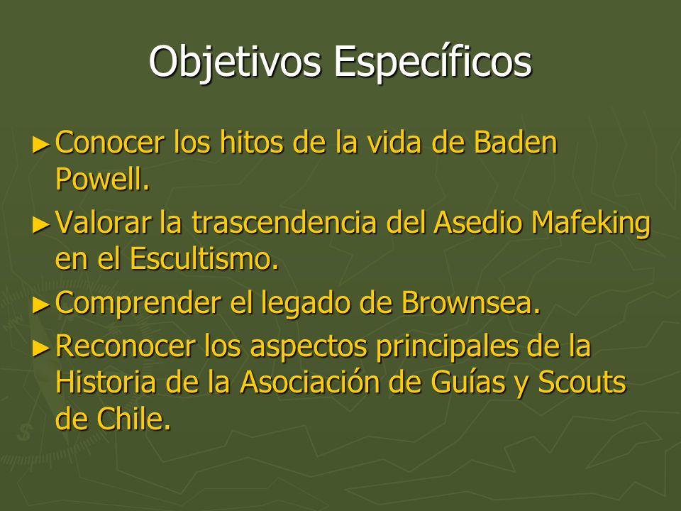 Objetivos Específicos Conocer los hitos de la vida de Baden Powell. Conocer los hitos de la vida de Baden Powell. Valorar la trascendencia del Asedio