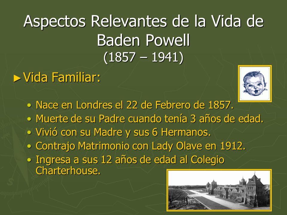 Aspectos Relevantes de la Vida de Baden Powell (1857 – 1941) Vida Familiar: Vida Familiar: Nace en Londres el 22 de Febrero de 1857.Nace en Londres el