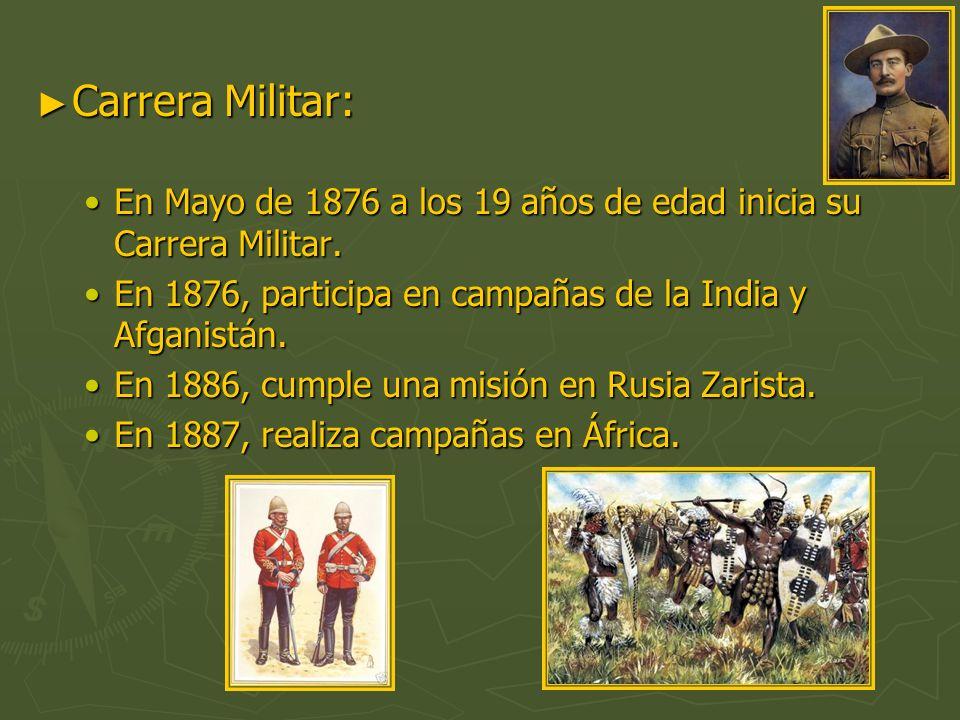 Carrera Militar: Carrera Militar: En Mayo de 1876 a los 19 años de edad inicia su Carrera Militar.En Mayo de 1876 a los 19 años de edad inicia su Carr