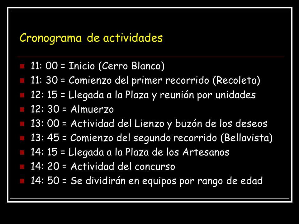 Cronograma de actividades 11: 00 = Inicio (Cerro Blanco) 11: 30 = Comienzo del primer recorrido (Recoleta) 12: 15 = Llegada a la Plaza y reunión por unidades 12: 30 = Almuerzo 13: 00 = Actividad del Lienzo y buzón de los deseos 13: 45 = Comienzo del segundo recorrido (Bellavista) 14: 15 = Llegada a la Plaza de los Artesanos 14: 20 = Actividad del concurso 14: 50 = Se dividirán en equipos por rango de edad