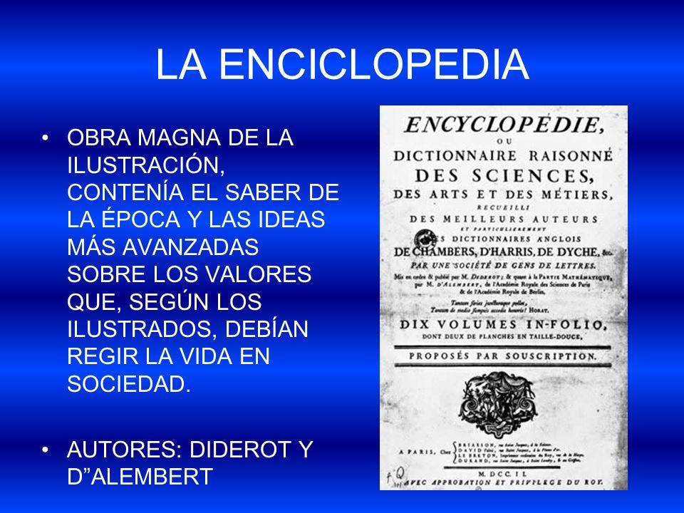 LA ENCICLOPEDIA OBRA MAGNA DE LA ILUSTRACIÓN, CONTENÍA EL SABER DE LA ÉPOCA Y LAS IDEAS MÁS AVANZADAS SOBRE LOS VALORES QUE, SEGÚN LOS ILUSTRADOS, DEB