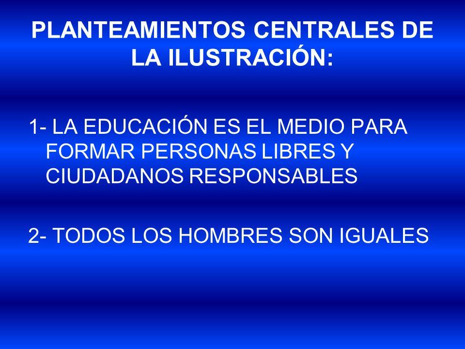 PLANTEAMIENTOS CENTRALES DE LA ILUSTRACIÓN: 1- LA EDUCACIÓN ES EL MEDIO PARA FORMAR PERSONAS LIBRES Y CIUDADANOS RESPONSABLES 2- TODOS LOS HOMBRES SON